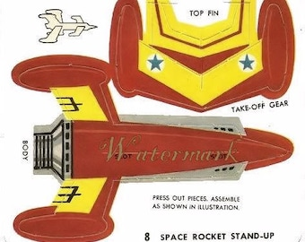 Vintage Circus Rocket Toy Cut out Digital Download Printable Image for DIY