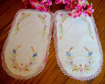 Pair of Doilies Two Linen Floral Embroidered Doilies with Crochet Trim Vintage Chair Linens