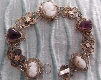 Vintage Bracelet Silver Amethyst Cameo Real Stones GORGEOUS