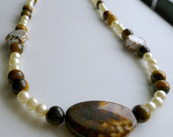 Amber agate stone focal with tiger eye and pearl stone combo with gold chain necklace