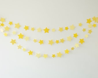 Yellow Star Garland, Paper Star Garland, Paper Garland, Star Decor, Star Bunting, Party Decor, Party Garland, Room Decor, Star Garland
