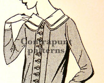 Dress sewing pattern from the 1920s, excellent collar and front buttons. A timeless classic