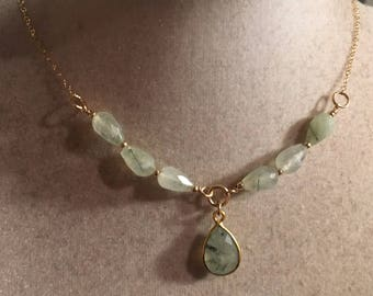 Prehnite Necklace - Green Gemstone Jewellery - Gold Chain Jewelry - Pendant