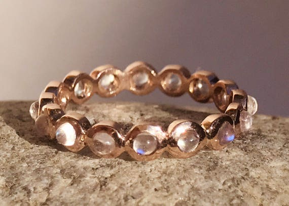 Rainbow blue moonstone and solid 14k rose gold eternity band