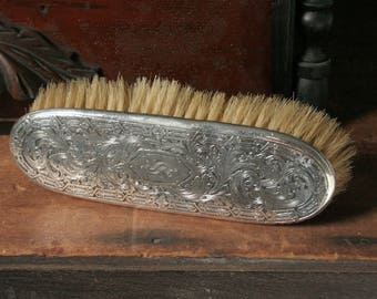 Vintage silver clothes brush, silver plate engraved handle, natural bristle vintage brush, Monogram S, vanity table brush