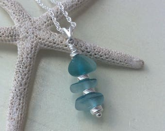 Sea Glass Stack Sterling Silver Necklace