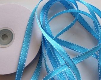 """3/8"""" Grosgrain Ribbon with Side Stitching - Turquoise with White - 25 yard Spool"""