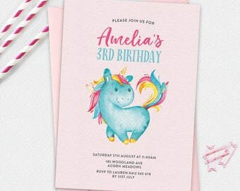Unicorn Invitation, birthday invitation, kids invitation, Custom invitation, birthday invite, rainbow invitation, girls invitation