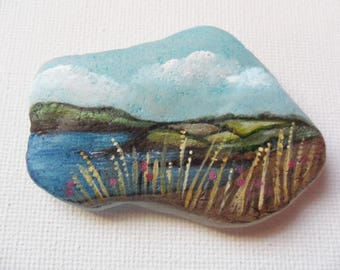 Green fields by the sea england - Original miniature painting on English sea glass