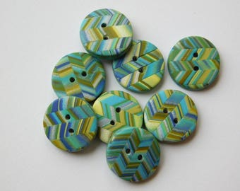 "5/8"" polymer clay sewing buttons, set of 8"