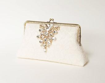 Evening Clutch / Ivory Alencon Clutch / Bridal Lace Clutch / Elegant Wedding Clutch / Wedding Bag / Bridal Clutch Purse