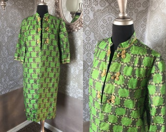 Vintage 1960's Asian Style Green and Gold Long Jacket Small
