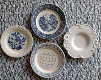 Blue & White Transferware Plate Wall Set of 4
