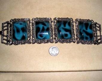 Vintage Large Blue And Black Pattern Chunky Bracelet Plastic Composite 1950's Jewelry 11078