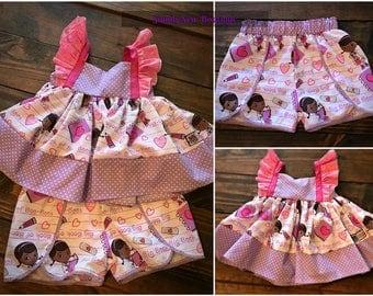 Girls Toddler Doc McStuffins Flutter tunic and Short Set 24 2T 3T 4T 5T 6 6x