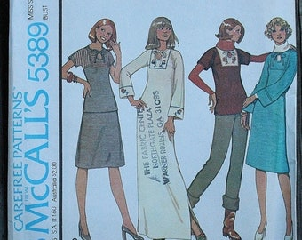 25%off Sizzlin Summer Sal McCall 5389 1970s 70s Keyhole Shirt Blouse Tunic Dress Midi Maxi Vintage Sewing Pattern Size 10 Bust 32.5