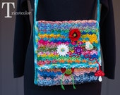 Women knit accessories knitting crochet flower button muticolore tricotcolor Chanel bag cotton lining fantasy