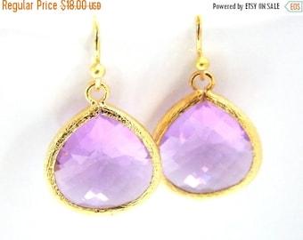 SALE Lavender Earrings, Gold Earrings, Soft Purple, Violet, Glass, Weddings, Bridesmaid Earrings, Bridal Earrings Jewelry, Bridesmaid Gifts