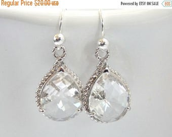 SALE Clear Earrings, Crystal Earrings, Glass, Silver, Wedding Jewelry, Bride Earrings, Bridesmaid Earrings, Bridal Earrings, Bridesmaid Gift