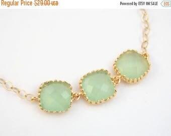 SALE Mint Bracelet, Glass Bracelet, Gold Bracelet, 14K Gold Filled Bracelet, Green Mint, Wedding Jewelry, Bridesmaids Bracelet, Bridesmaid G