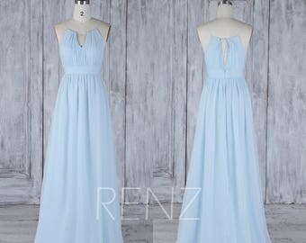2017 Light Blue Chiffon Bridesmaid Dress Empire Waist, Halter Adjustable Straps Wedding Dress,Ruched V Neck Prom Dress Floor Length (H510)