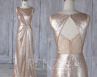 Bridesmaid Dress Tan Sequin,Asymmetric Ruched Wedding Dress,Lace Illusion Open Back Prom Dress,Maxi Bodycon Evening Dress Full Length(HQ515)