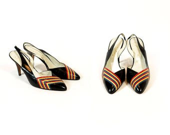 Vintage 1970s Black and Rainbow Stripe Slingback D'Orsay Pumps High Heels // Fits Like Size 8.5 or 9 US