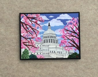 Cherry Blossoms at the US Capitol Building, 11x14 in canvas, sewn fabric art, sewn on a 1968 Singer, recycled fabrics, ready to hang canvas