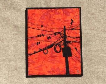 Fire Birds 8x10 inches, original sewn fabric artwork, handmade, freehand appliqué, ready to hang canvas