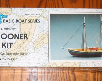 Vintage 1984  SCHOONER Model Kit 100% COMPLETE, Made by Woodkrafter, Yarmouth, Maine