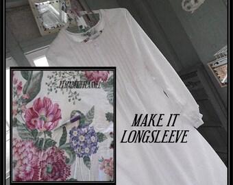 Sm.-XXL,ELIZABETH FlannelWomen'sLongSleeve CottonNightgown,Handmade,VintageFabric,PinTucked,Waltz Length,VintageInspired