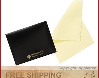 4 Sunshine Polishing Cloths for Sterling Silver, Gold, Brass and Copper Jewelry in Envelopes