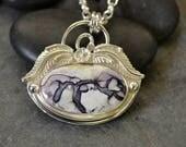 """Purple stone pendant.  Bertrandite. Tiffany stone.  """"garden spider"""""""