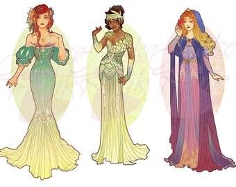 Full Set 3 Princesses Mucha Style CROSS STITCH PATTERNS Ariel, Tiana, Aurora, Original Art by Hannah Alexander