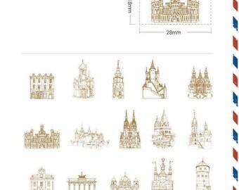 Paper Deco Label Seal Set - Historic Buildings - 45 Pcs