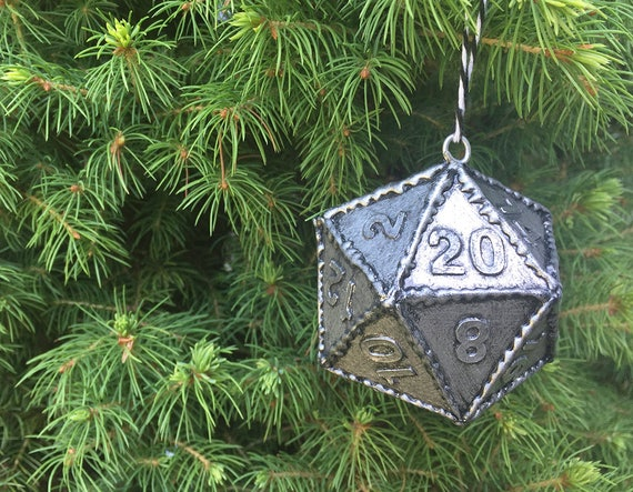 hero sword ornament d20 polyhedral dice geek christmas tree ornament duneons and dragons christmas decor pathfinder