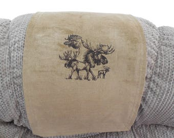 Recliner Cap, Chair Head Cover, Headrest Pad, Furniture Protector, Emb Moose Sketch, Camel Chenille, 14x30, Sofa, Loveseat, Theater Seat
