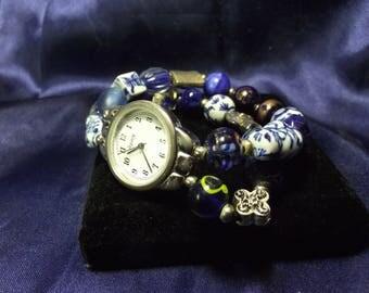 Woman's Quartz Watch with 3 Bands **Blue & Silver**Vintage** B107-B126