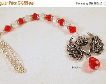 CIJ SALE Heart and Wing Car Charm, Car Accessory ,  Red Crystal and Silver Rear View Mirror Charm. OOAK Handmade. CKDesigns.Us