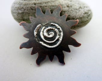 Melted Silver on Copper Sun, Reticulated Silver, Mixed Metal Pendant, Lot 3