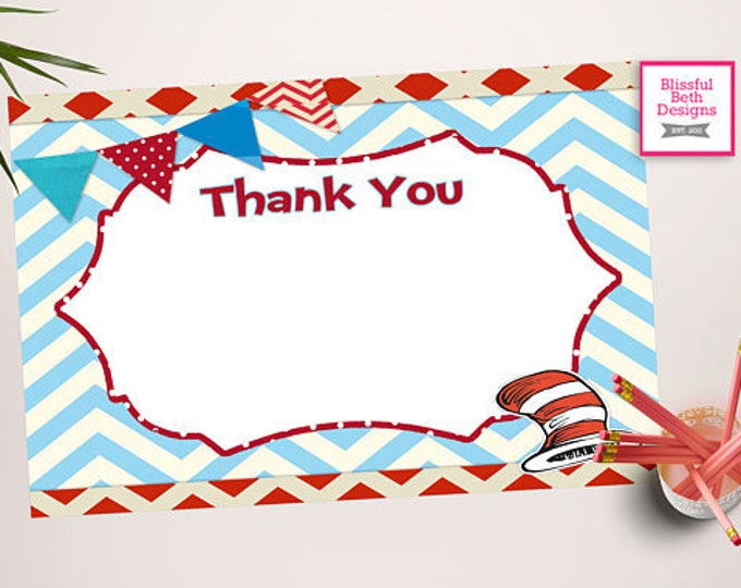 SEUSS THANK YOU Dr. Seuss Printable Thank You Notes, Instant Download, Instant Dr. Seuss Thank You Note, Thank You Note, Dr. Seuss Note