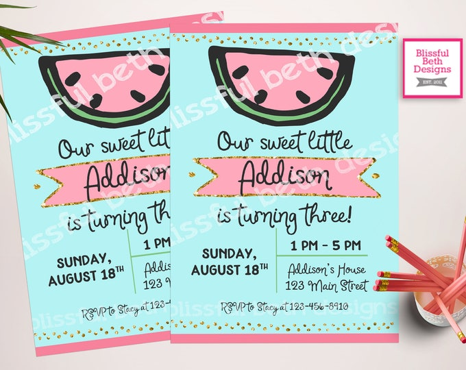 WATERMELON BIRTHDAY INVITATION, Sweet Girl Birthday Invitation, Watermelon Birthday Invite, Watermelon, Sweet Girl Birthday, Girl Birthday