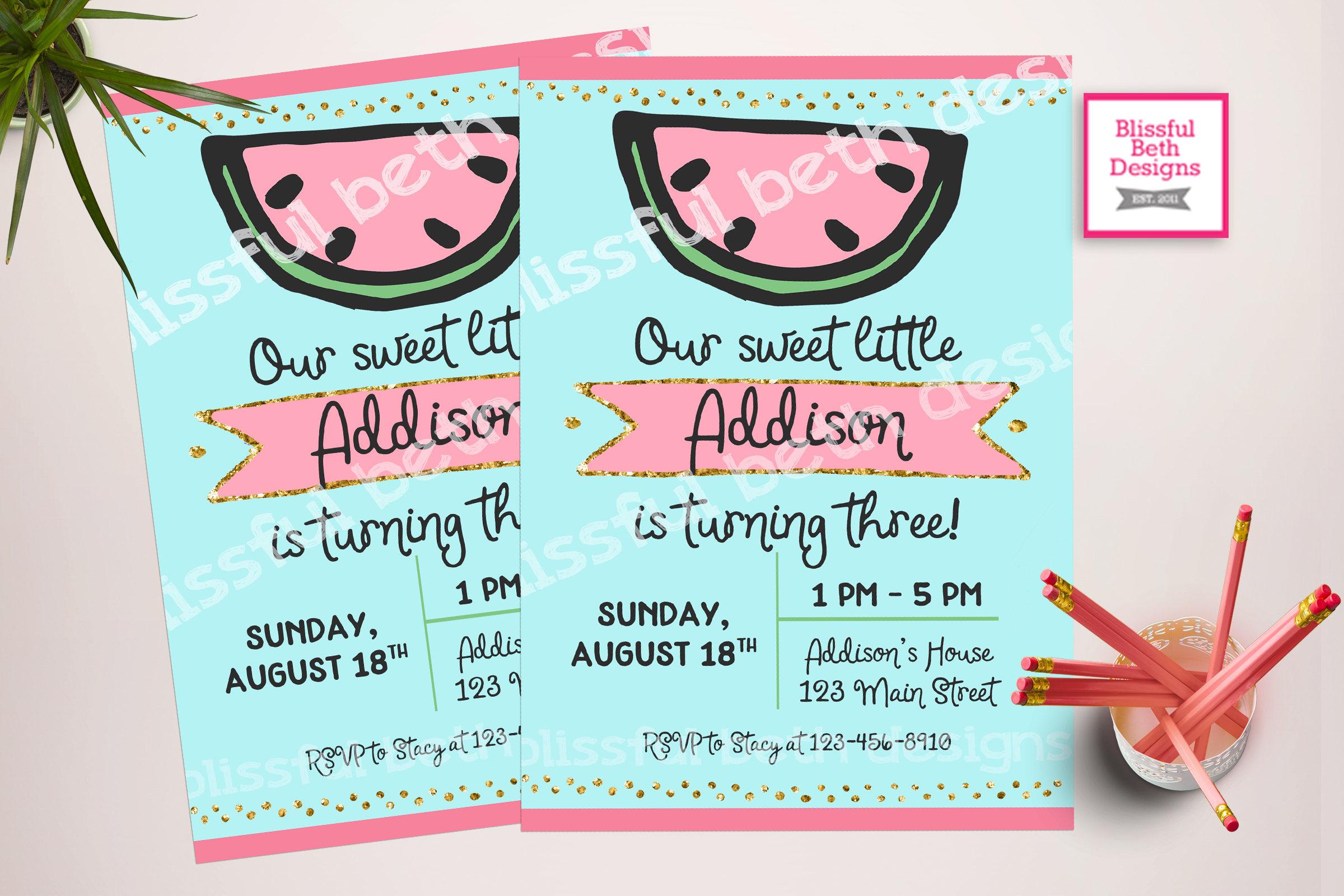 WATERMELON BIRTHDAY INVITATION Sweet Girl Birthday Invitation