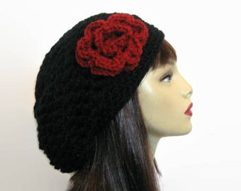 Black Slouch Beanie with Flower  Black Slouchy Hat crochet women's hat with Flower Black Slouch Tam Black slouchy Beret  Black Slouchy Hat