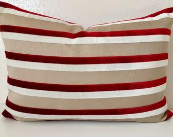 Red white stripe velvet cushion cover, cherry red velvet stripe pillow, white red pillow, RED velvet cushion, White velvet stripe cushion