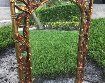 POWER SERGE / Stunning And Large Almost 4 Ft. Tall Gold Serge Roche Style Wall Mirror / Palm & Faux Bamboo Detailing / Hollywood Regency
