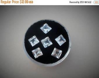 ON SALE 6 White Topaz Square gems 5mm each