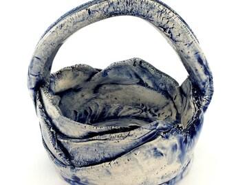Cobalt Basket  | Fine Art Sculpture | Pitcher - Ceramic Art
