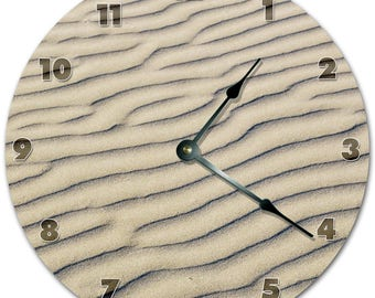 "10.5"" BEAUTIFUL WHITE SAND Ripples Clock - Living Room Clock - Large 10.5"" Wall Clock - Home Décor Clock - 5855"