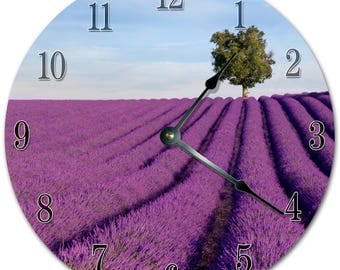 "10.5"" BEAUTIFUL LAVENDER FIELD Clock - Living Room Clock - Large 10.5"" Wall Clock - Home Décor Clock - 5862"